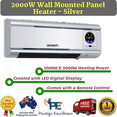 New 2000W Wall Mounted Panel Heater Remote Control Heat Panel Convection Silver