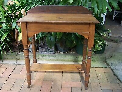 Vintage Antique Wooden Timber Table On Wheels Furniture Cabinet Turned Legs