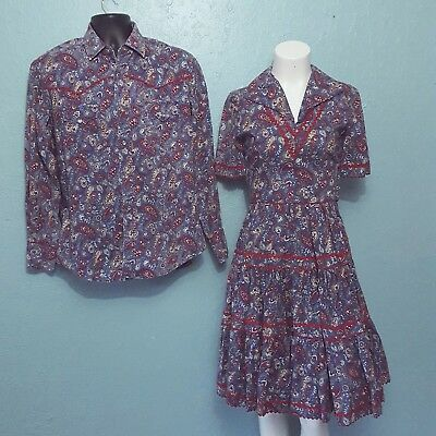 Vintage couples western dance costumes/outfits blue & red bandana print handmade