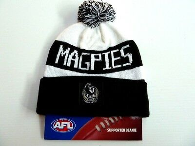 Afl Collingwood Magpies Traditional Bar Beanie - Brand New