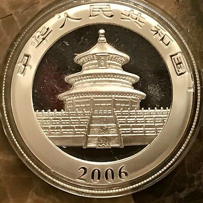 2006 Chinese Panda 1 Ounce Silver Coin in Capsule Collector Proof Beautiful Eye