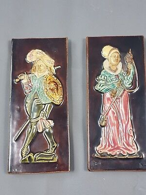 Pair of Antique Tiles Great Quality and Colors Good Condition Maker Unknown