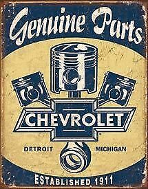 Genuine Chevy Parts Tin Sign New Garage Shed Chevrolet Hotrod Ratrod Rustic Chev