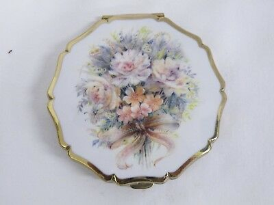 Vintage Compact Enammel Flowers Made By Stratton