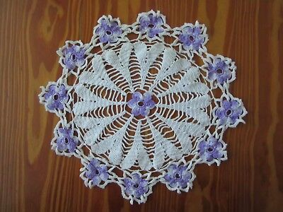 Vintage Variegated Purple & White Hand Crocheted Doily