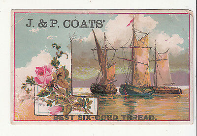 J & P Coats Six Cord Thread Ships Boats William Miles Milesburg PA  Card c 1880s