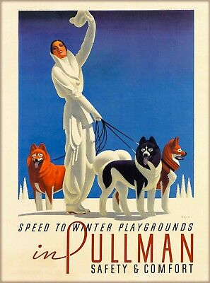Speed to Winter Playgrounds Pullman United States Travel Advertisement Poster