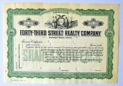 FORTY-THIRD STREET REALTY COMPANY - New York - Specimen Certificate Ca.1908