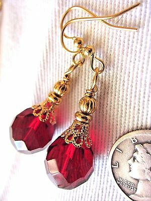 EARRINGS Kirsten USA Made Drop Dangle Faceted Deep Red Old Czech Gold Hooks