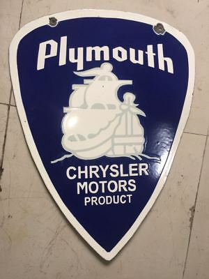 PORCELAIN CHRYSLER PLYMOUTH SIGN 21.5 X 29.5 INCH Double Sided