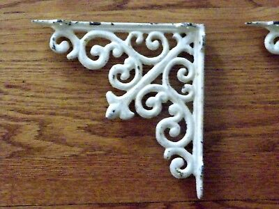 Lot/Set 5 Antique-Style Cast Iron Off White DISTRESSED SHELF BRACKETS Hangers