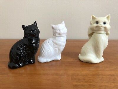 Vintage Avon Empty Perfume Cat Bottles Lot of 3