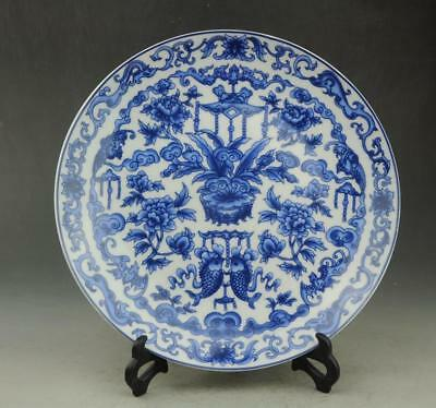 Chinese old hand-made porcelain Blue and white fish and flower pattern plate b01