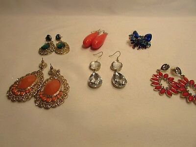Lot Of Six 6  Vintage Retro Beaded Dangle Drop Pirced Earrings Drag Queen Lot