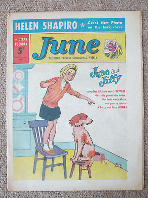 'June' schoolgirls comic. 8th December 1963. Full page Helen Shapiro in colour.