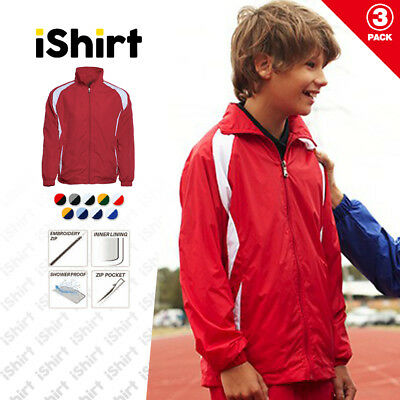 3Pcxkids Jacket 100% Polyester Shower Proof Full Zip Sport Training Track Jacket