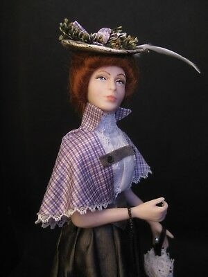 Exquisite dolls house 1/12th doll~Celia Mayfield~Edwardian lady in silk