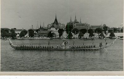 Thailand Siam Bangkok - Temple Complex and Royal Barge old real photo postcard
