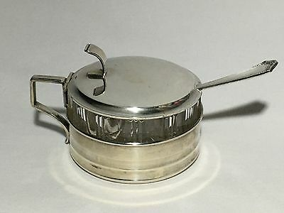 Lutz & Weiss German 835 Silver Cut Glass Mustard Pot Salt Cellar Sugar Serving