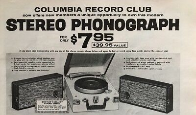 1962 Columbia Record Club Stereo Phonograph Ad Vintage