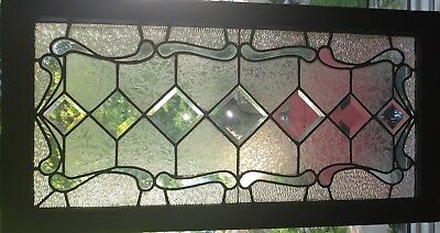 Antique Vintage c1900 Leaded Beveled Transom Window Restored