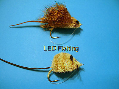2 x MOUSE AND RAT FISHING FLIES FOR PIKE, BASS AND LARGE TROUT #2 (049)