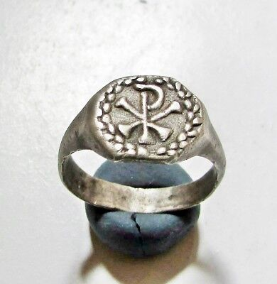 "Ancient Silver Roman  Ring."" Chi Rho """