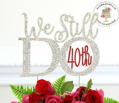 40th Wedding Anniversary.40th Wedding Anniversary Cake Topper Made In Silver And Ruby Crystal Rhinestones