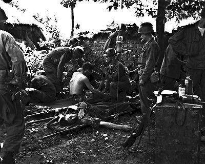 New 8x10 Korean War Conflict Photo: Wounded American Soldiers Receive Treatment