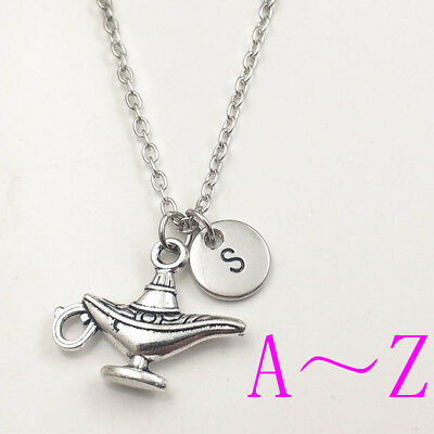 Lamp of Aladdin charm silver Initial Letter Necklace stamped monogram pendants
