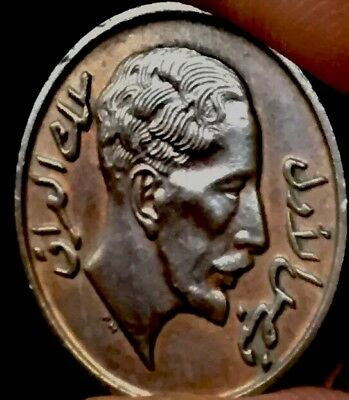 1933 Iraq 1 Fils, king Faisal I bronze coin. الملك فيصل الاول