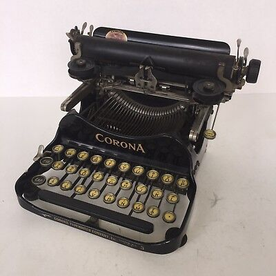 Antique Corona #3 Folding Portable Typewriter 1917 for Parts Repair Restoration