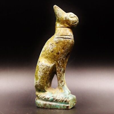 Rare Antique Egyptian Stone of Ancient Cat BASTET (Bes) Amulet Figurine