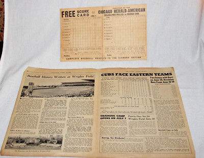Vintage Chicago Herald Score Card CUBS vs Phillies1945& CHI CUBS NEWS 6.10.1947