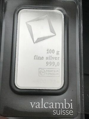 100 gram Silver Bar - Valcambi Suisse (w/Assay)