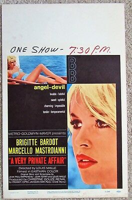Very Private Affair Original 1962 Wc Movie Poster Rolled Brigitte Bardot Ex