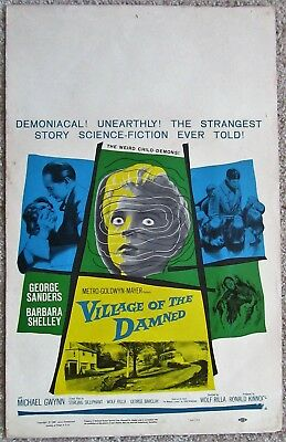 Village Of The Damned Original 1960 Wc Movie Poster Rolled George Sanders Ex