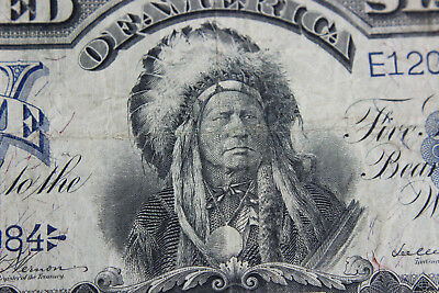 Antique 1899 $5 Silver Certificate - Indian Chief Five Dollars (74?/M4)