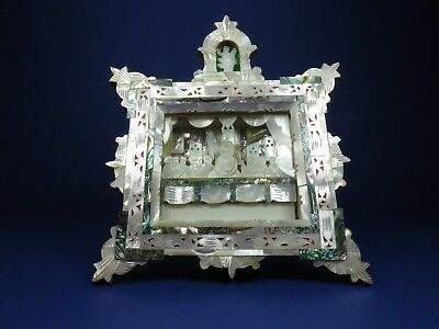 Mother Of Pearl Abalone Shell Religious Icon Plaque The Last Supper Shadow Box