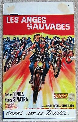 Wild Angels Original 1966 Belg Movie Poster Folded Peter Fonda Good