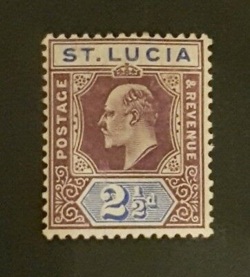 St Lucia. 1904-10 KEVII 2½d Dull Purple & Blue Chalk Surfaced SG68a Mounted Mint