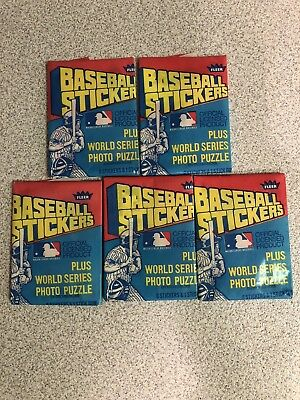 Lot of 5 unopened 1979 Fleer Baseball Sticker Wax Pack world series photo puzzle