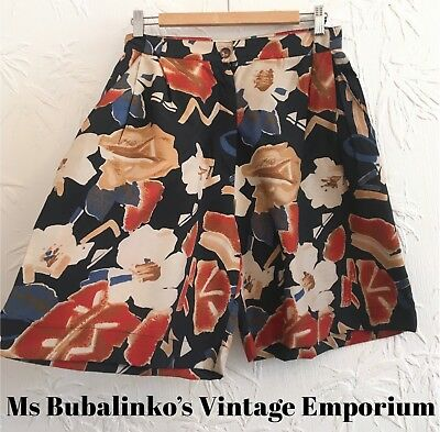 Vintage 1990s Abstract Floral Culottes Shorts Size 10 High Waist Wide Legs
