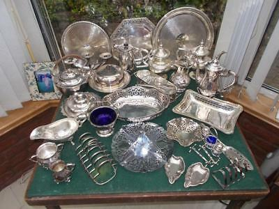 Over 10 Kg Lot Silver Plated Items Trays, Bowls Cake Stand Racks Pots Sets Etc