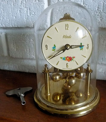 Vintage Kundo Anniversary Torsion Clock With Dome + Key -See 5 Pics + Video