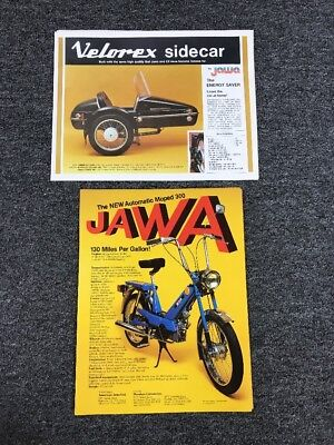 Vintage Lot of JAWA Moped 300 and Velorex Sidecar Ads Flyers Advertisements
