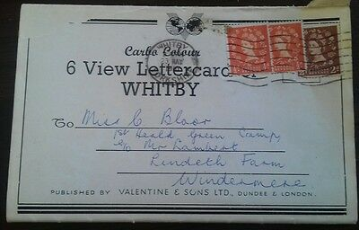 Vintage Carbo Colour 6 View Letter Card of Whitby posted 1951