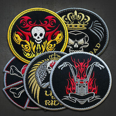 """MOTO BIKE, CELTIC CROWN - Embroidered  IRON ON Biker Patches LOT OF 5 - 4"""""""