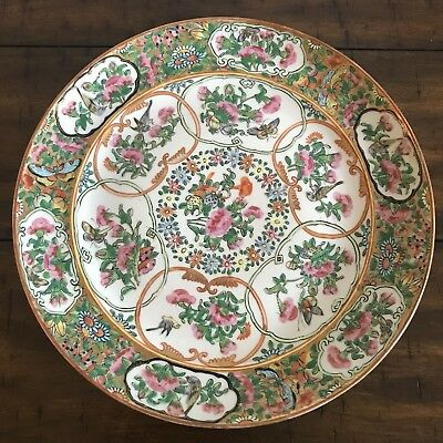 Antique Chinese Porcelain Rose Medallion Plate - Beautiful, Excellent Condition!