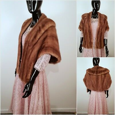 Vintage 60s Marshall Snelgrove Real Fur Pastel Mink Stole Wrap Goodwood Wedding